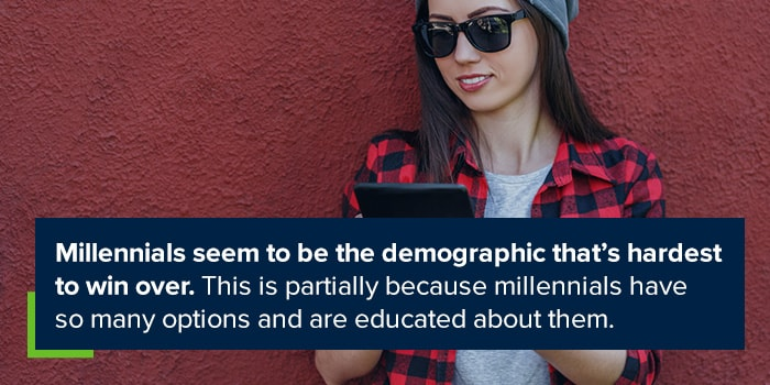 Millennial seem to be the demographic that's hardest to win over. This is partially because millenials have so many options and are educated about them.