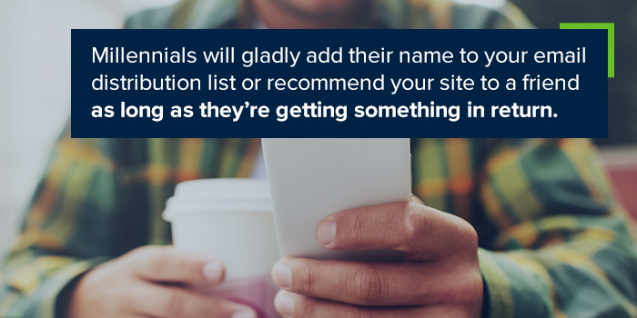 Millennials will gladly add their name to your email distribution list or recommend your site to a friend as long as they're getting something in return.