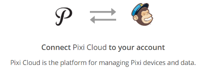 PixiCloud and MailChimp connection Icons